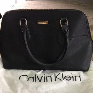 Calvin Klein black leather satchel